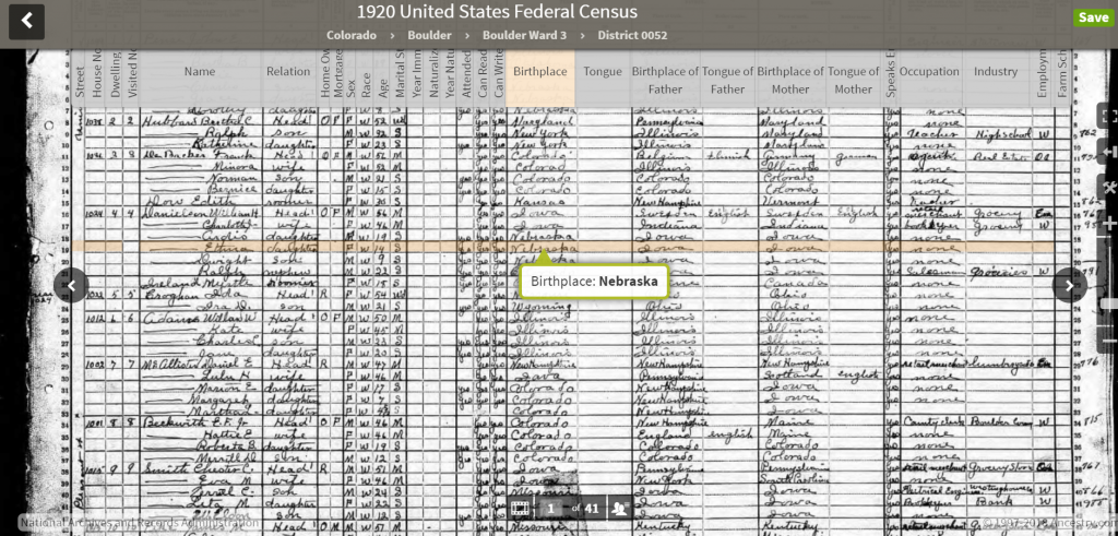 Census sheet 1920 from HeritageQuest showing transcribed overlays