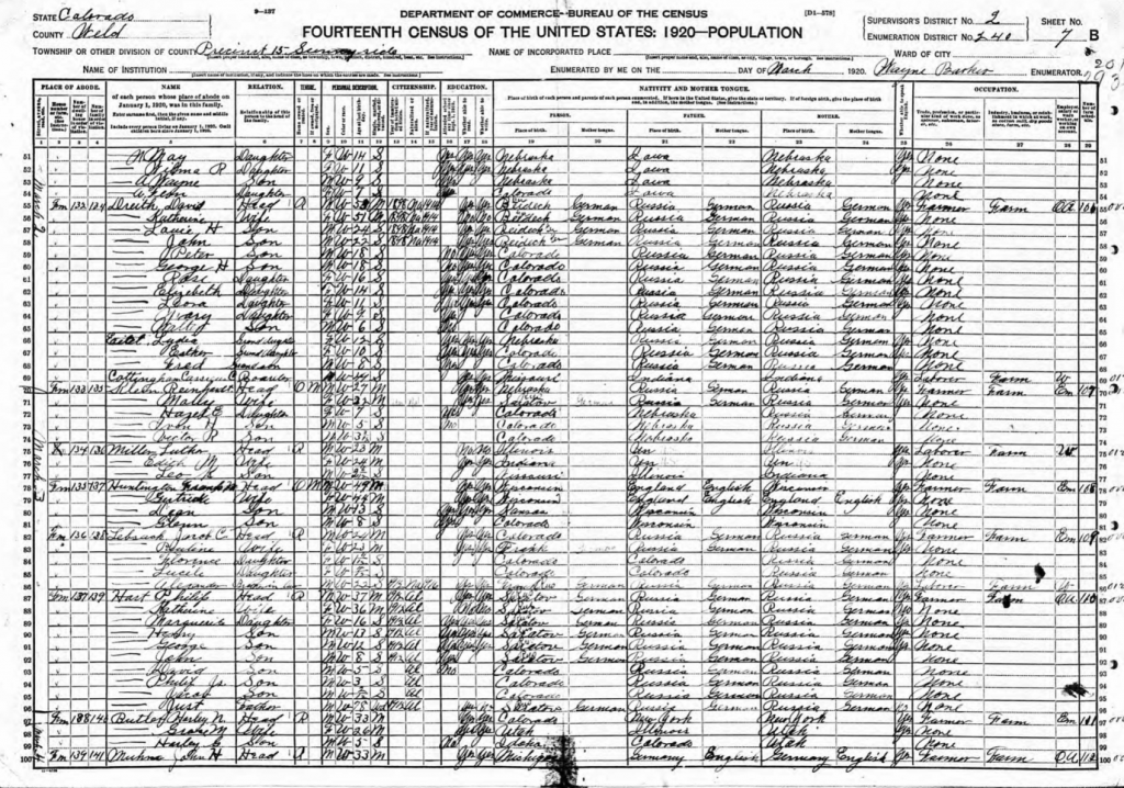 1920 census sheet with longhand writing