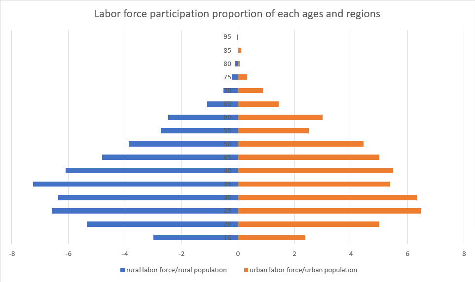 Pyramid graph showing urban and rural labor force participation
