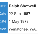 Ralph E. Shotwell death record